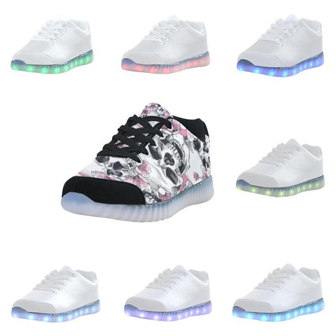 Skull & Flowers Design 1 Light Up Casual Men's Shoes-Light Up Shoes-JEFAMO