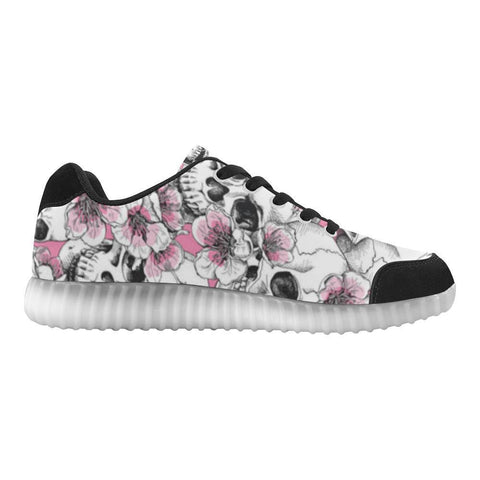 Image of Skull & Flowers Design 1 Light Up Casual Women's Shoes-Light Up Shoes-JEFAMO