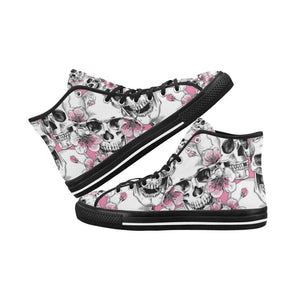 Skull & Flowers Design 1 Vancouver High Top Canvas Men's Shoes