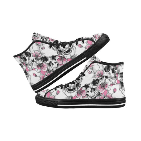 Skull & Flowers Design 1 Vancouver High Top Canvas Men's Shoes-Canvas Shoes-JEFAMO