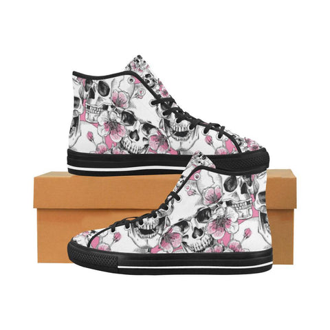 Image of Skull & Flowers Design 1 Vancouver High Top Canvas Men's Shoes-Canvas Shoes-JEFAMO