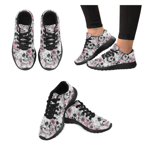 Skull & Flowers Design 1 Women's Sneakers-Sneakers-JEFAMO