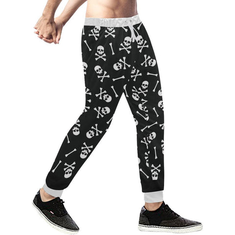 Image of Skull Pattern Men's All Over Print Casual Jogger Pants-Pants-JEFAMO