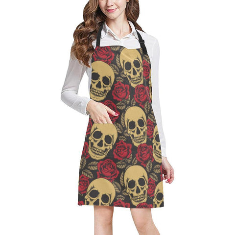 Skull & Roses Design 1 All Over Print Adjustable Apron-Aprons-JEFAMO
