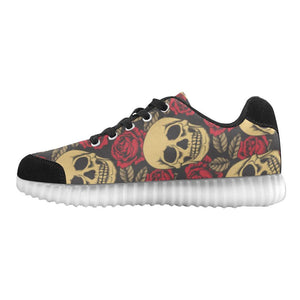 Skull & Roses Design 1 Light Up Casual Men's Shoes
