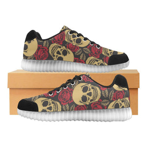 Skull & Roses Design 1 Light Up Casual Men's Shoes-Light Up Shoes-JEFAMO