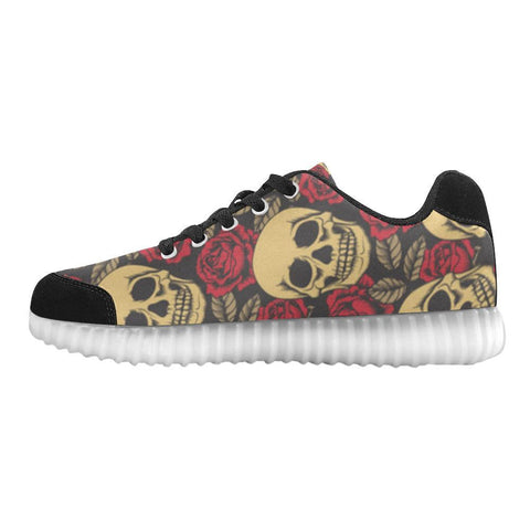 Skull & Roses Design 1 Light Up Casual Women's Shoes-Light Up Shoes-JEFAMO