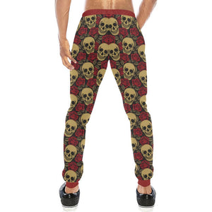 Skull & Roses Design 1 Men's All Over Print Casual Jogger Pants