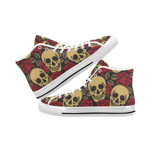 Skull & Roses Design 1 Vancouver High Top Canvas Men's Shoes