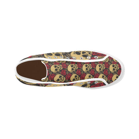 Image of Skull & Roses Design 1 Vancouver High Top Canvas Men's Shoes-Canvas Shoes-JEFAMO
