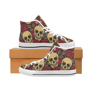 Skull & Roses Design 1 Vancouver High Top Canvas Men's Shoes-Canvas Shoes-JEFAMO