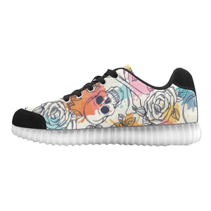 Skull & Roses Design 2 Light Up Casual Men's Shoes