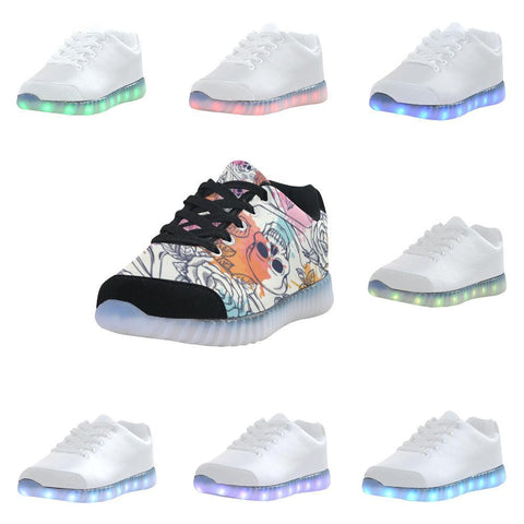 Skull & Roses Design 2 Light Up Casual Men's Shoes-Light Up Shoes-JEFAMO