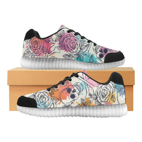 Skull & Roses Design 2 Light Up Casual Women's Shoes-Light Up Shoes-JEFAMO