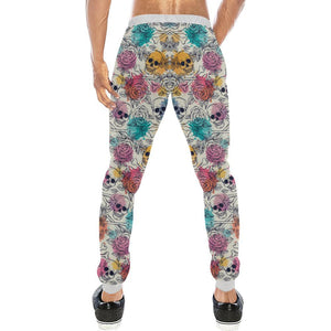 Skull & Roses Design 2 Men's All Over Print Casual Jogger Pants