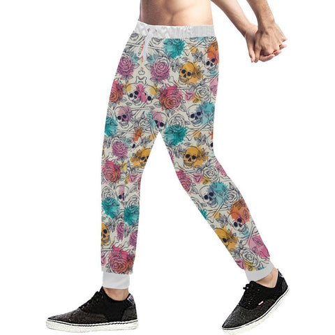 Image of Skull & Roses Design 2 Men's All Over Print Casual Jogger Pants-Pants-JEFAMO