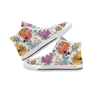 Skull & Roses Design 2 Vancouver High Top Canvas Men's Shoes