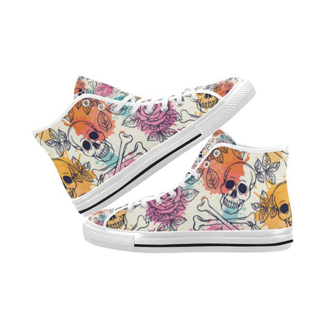 Image of Skull & Roses Design 2 Vancouver High Top Canvas Men's Shoes-Canvas Shoes-JEFAMO