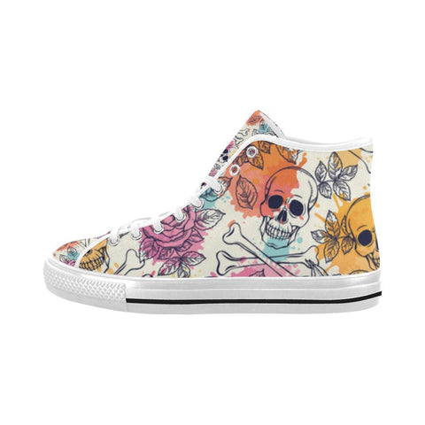 Skull & Roses Design 2 Vancouver High Top Canvas Men's Shoes-Canvas Shoes-JEFAMO