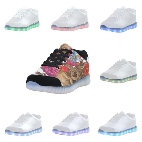Skull & Roses Design 3 Light Up Casual Men's Shoes-Light Up Shoes-JEFAMO