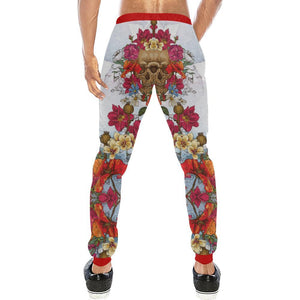 Skull & Roses Design 3 Men's All Over Print Casual Jogger Pants