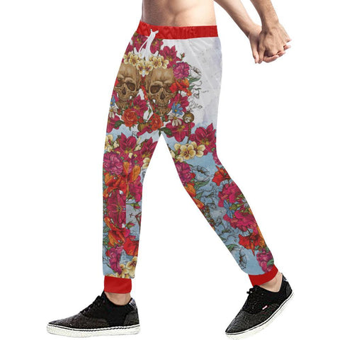Image of Skull & Roses Design 3 Men's All Over Print Casual Jogger Pants-Pants-JEFAMO