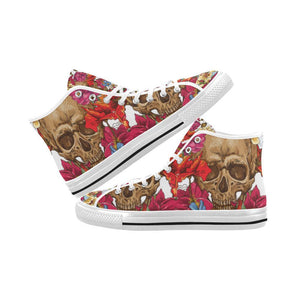 Skull & Roses Design 3 Vancouver High Top Canvas Men's Shoes