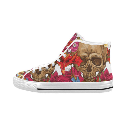 Image of Skull & Roses Design 3 Vancouver High Top Canvas Men's Shoes-Canvas Shoes-JEFAMO