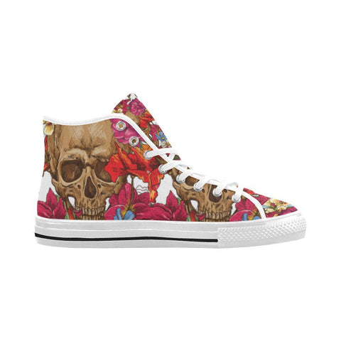 Skull & Roses Design 3 Vancouver High Top Canvas Men's Shoes-Canvas Shoes-JEFAMO