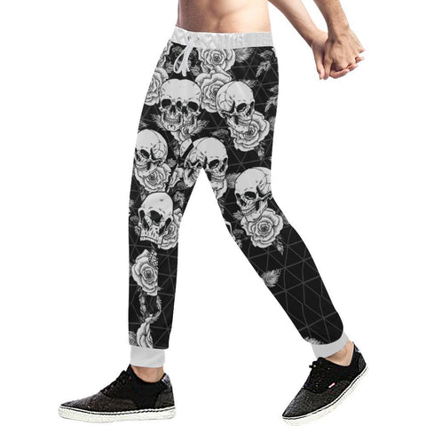 Image of Skull & Roses Design 4 Men's All Over Print Casual Jogger Pants-Pants-JEFAMO