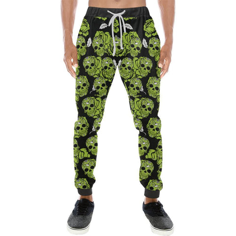 Image of Skull & Roses Design 5 Men's All Over Print Casual Jogger Pants-Pants-JEFAMO