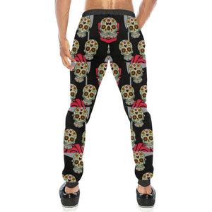 Skull & Roses Design 6 Men's All Over Print Casual Jogger Pants