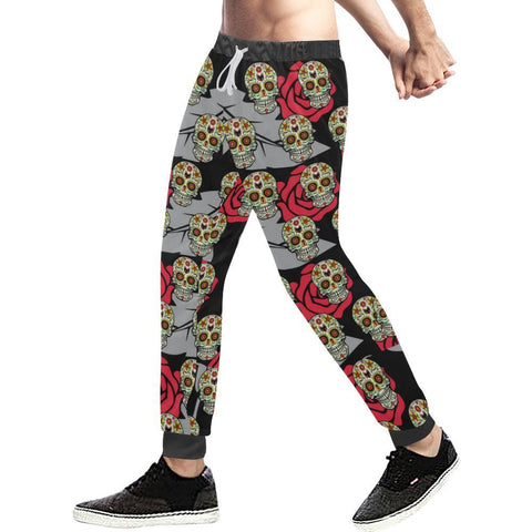 Image of Skull & Roses Design 6 Men's All Over Print Casual Jogger Pants-Pants-JEFAMO