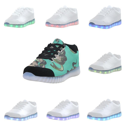 Skull & Snakes Design 1 Light Up Casual Men's Shoes-Light Up Shoes-JEFAMO