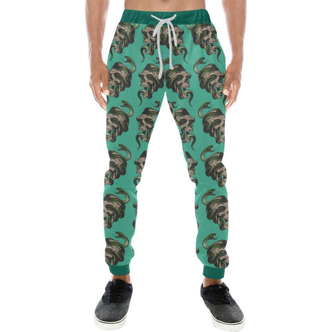 Image of Skull & Snakes Design 1 Men's All Over Print Casual Jogger Pants-Pants-JEFAMO