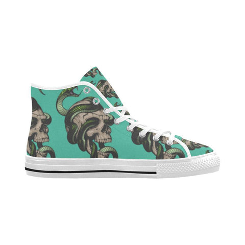 Image of Skull & Snakes Design 1 Vancouver High Top Canvas Men's Shoes-Canvas Shoes-JEFAMO