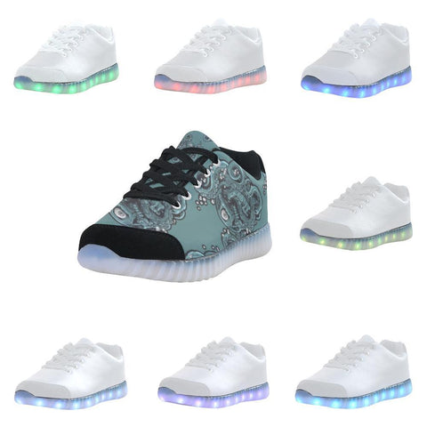 Skulls & Squids Design 1 Light Up Casual Men's Shoes-Light Up Shoes-JEFAMO