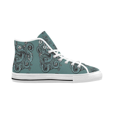 Skulls & Squids Design 1 Vancouver High Top Canvas Men's Shoes-Canvas Shoes-JEFAMO