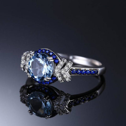 Image of Sky Blue Topaz and Blue Spinel Ring 925 Sterling Silver-JP_RINGS-JEFAMO