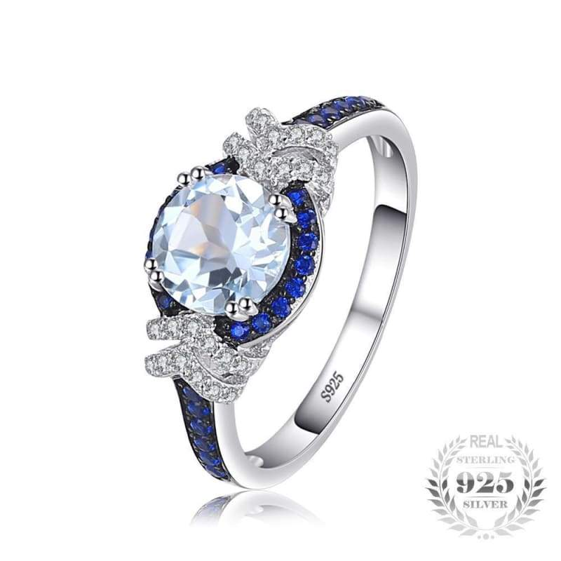 Sky Blue Topaz and Blue Spinel Ring 925 Sterling Silver-JP_RINGS-JEFAMO
