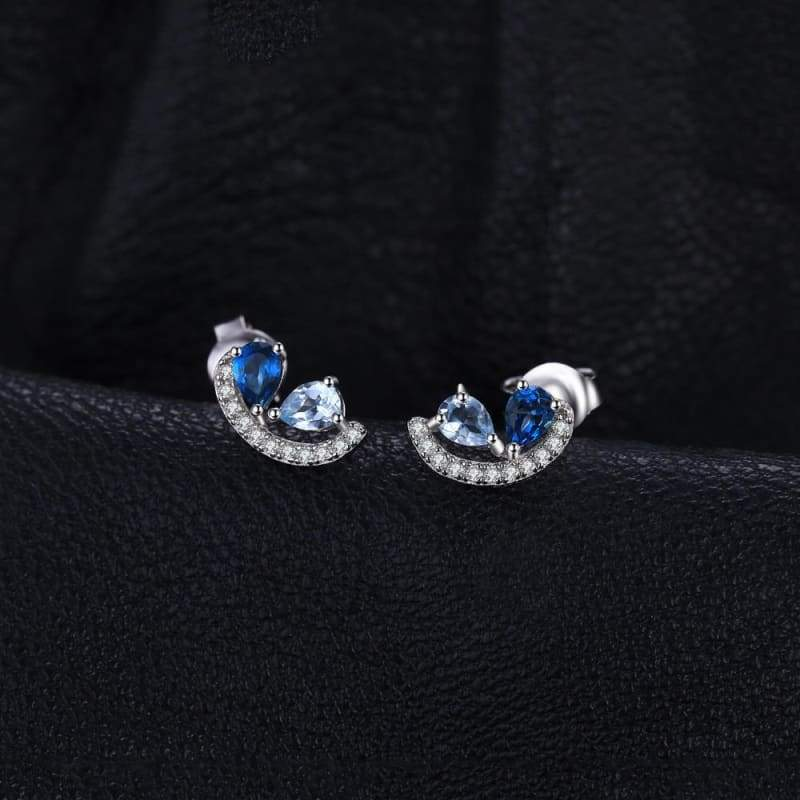 Sky Blue Topaz and London Blue Topaz Cluster Earrings 925 Sterling Silver-JP_EARRINGS-JEFAMO