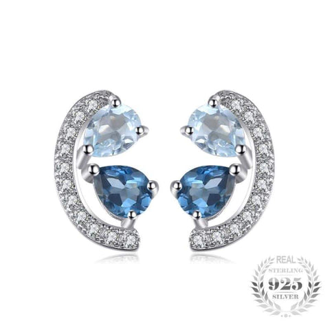 Image of Sky Blue Topaz and London Blue Topaz Cluster Earrings 925 Sterling Silver-JP_EARRINGS-JEFAMO