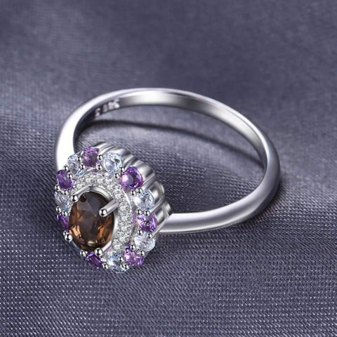 Image of Smoky Quartz, Sky Blue Topaz, Amethyst Cluster Ring 925 Sterling Silver-JP_RINGS-JEFAMO