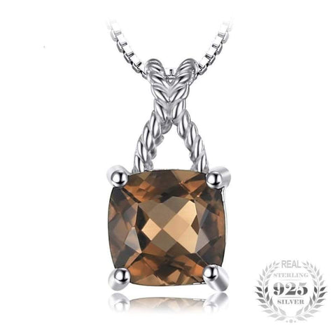 Image of Smoky Quartz Solitaire Rope Pendant 925 Sterling Silver-JP_PENDANTS-JEFAMO