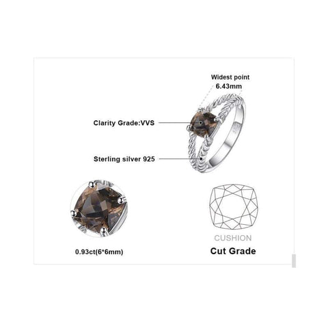 Image of Smoky Quartz Solitaire Rope Ring 925 Sterling Silver-JP_RINGS-JEFAMO