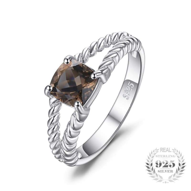 Smoky Quartz Solitaire Rope Ring 925 Sterling Silver-JP_RINGS-JEFAMO