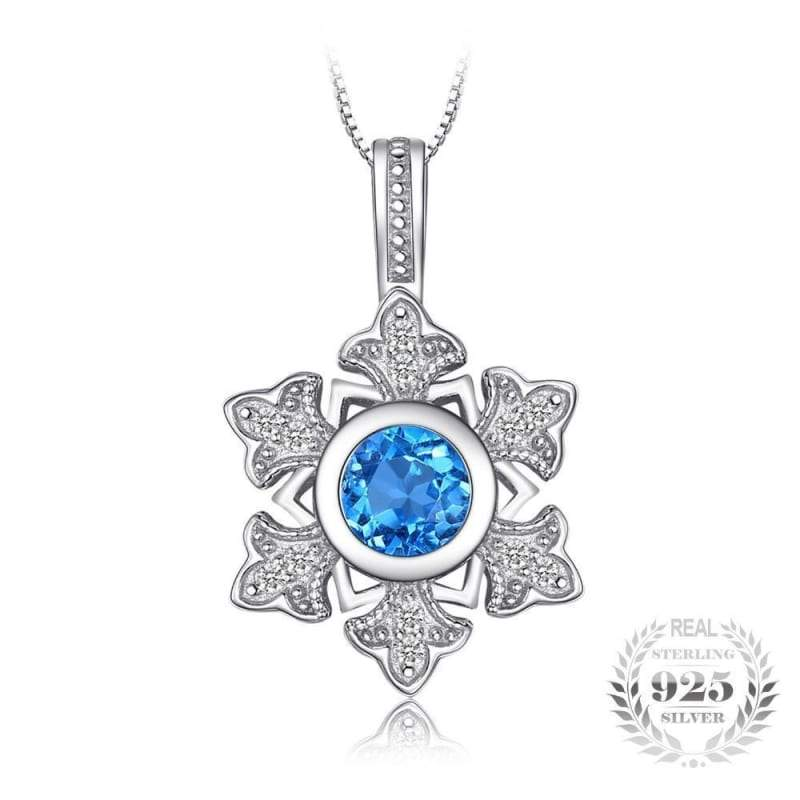 Snowflake swiss blue topaz pendant 925 sterling silver fine jewelry click to expand aloadofball Choice Image