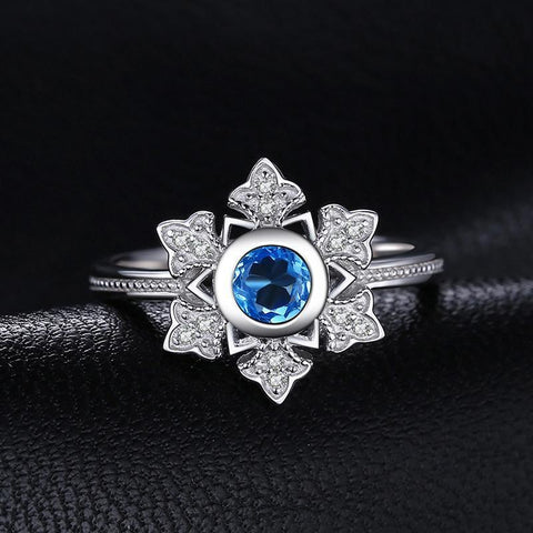 Image of Snowflake Shaped Swiss Blue Topaz Ring 925 Sterling Silver-JP_RINGS-JEFAMO