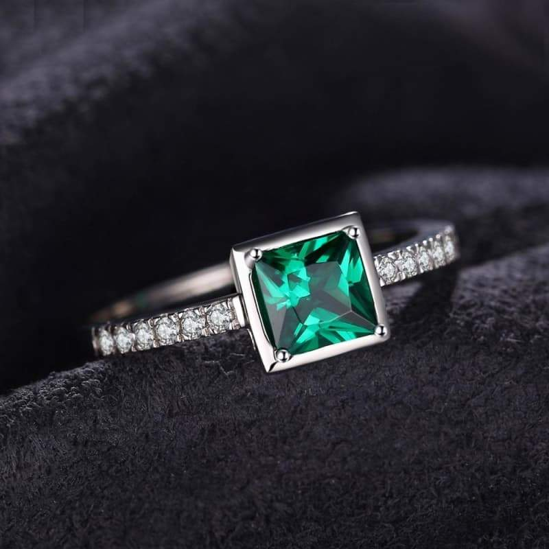 Square Created Green Emerald Solitaire Ring 925 Sterling Silver-JP_RINGS-JEFAMO