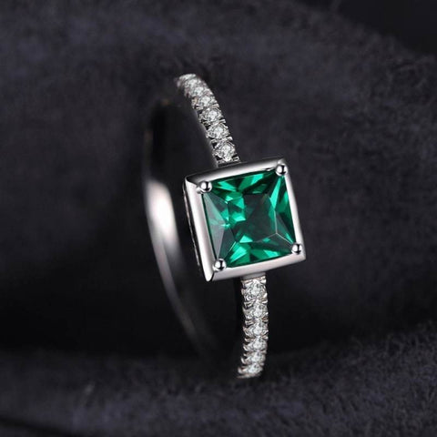 Image of Square Created Green Emerald Solitaire Ring 925 Sterling Silver-JP_RINGS-JEFAMO